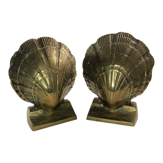 Vintage Mid-Century Brass Clamshell Bookends - a Pair For Sale