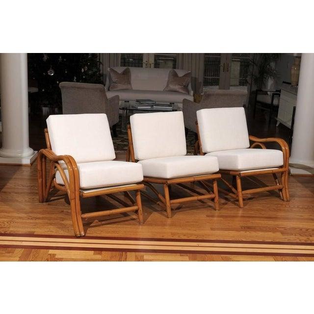 Fantastic Restored Vintage Modern Rattan Three-Seat Sofa For Sale - Image 4 of 8