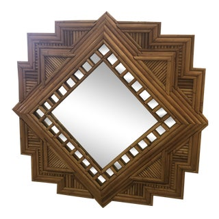 Vintage Hollywood Regency Tropical Boho Pencil Reed Bamboo Wall Mirror For Sale