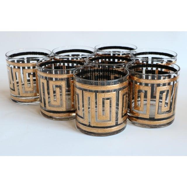 Culver Greek Key Gold Rocks Glasses - Set of 8 - Image 2 of 6