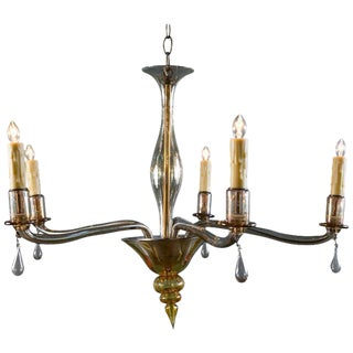 Mid-Century Modern Amber Colored Murano Glass Chandelier For Sale
