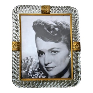 1940's Murano Twisted Glass Rope Brass Picture Frame For Sale