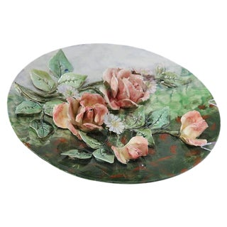 Early 20th Century French Hand-Painted Barbotine Flower Platter For Sale
