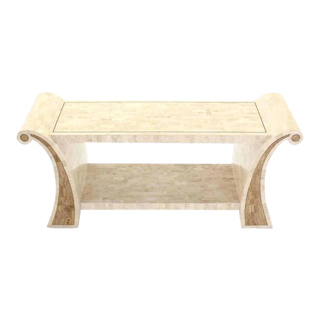 Maitland Smith Tessellated Stone Veneer Console Table For Sale