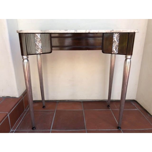 Wood Art Deco Silver Leaf and Dark Wood Vanity Table For Sale - Image 7 of 7