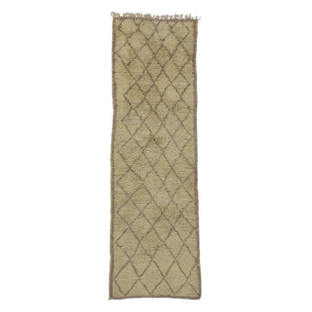 Mid Century Modern Berber Moroccan Carpet Runner With Minimalist Design Chairish