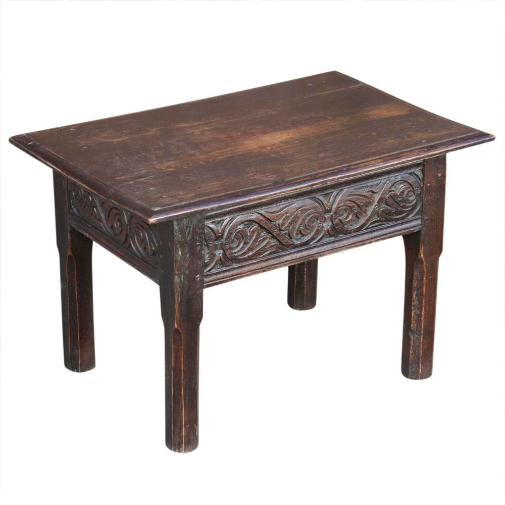 A Fine 19th Century English Oak Coffee Table That Was Once A Tall Table, But