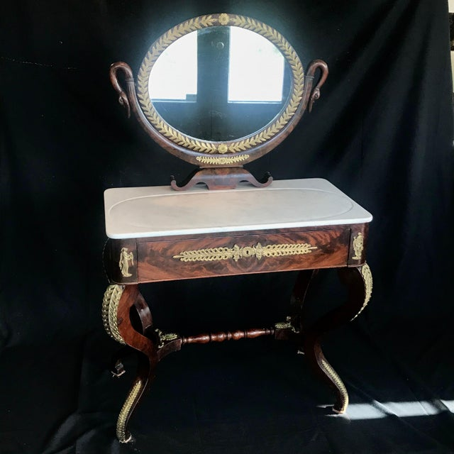 Traditional 19th Century French Empire Neoclassical Mahogany Dressing Table Vanity For Sale - Image 3 of 13