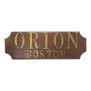 Vintage Teak Wood & Brass Boston Sailboat Name Plaque For Sale