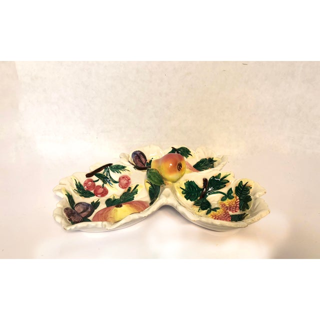 Trompe L'oeil Fruit three part divided serving dish marked made in Italy. Perfect piece to complement your tabletop decor.