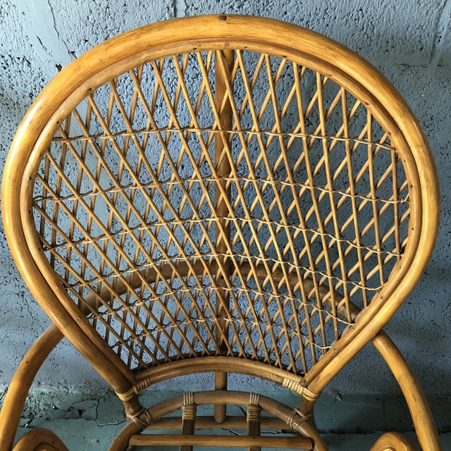 1980s Boho Chic Rattan Fan Peacock Chairs - a Pair For Sale In Philadelphia - Image 6 of 13
