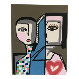 """Anastasia George """"Sisters"""" Original Abstract Face Acrylic Painting For Sale"""