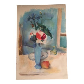 Original Vintage Pastel Still Life Signed For Sale