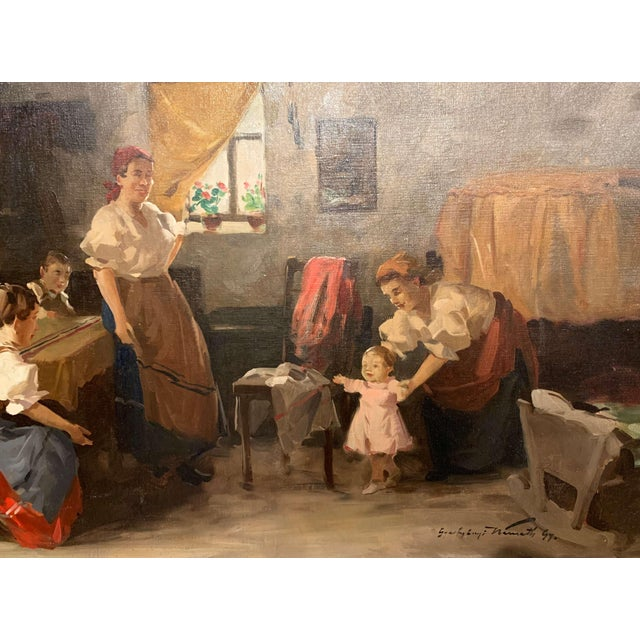 Traditional 19th Century Hungarian Oil on Canvas Painting in Gilt Frame Signed & Dated, 1897 For Sale - Image 3 of 12