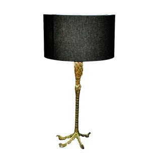 1940's Ostrich Leg Lamp With Custom Black Shade