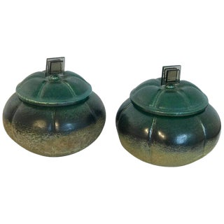 "Pair Raku Pottery Lidded ""Gourd"" Vases, by Tony For Sale"