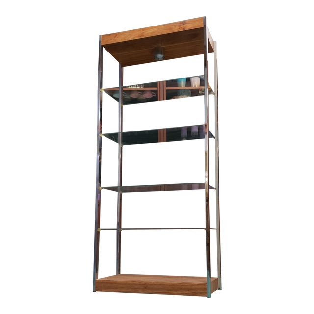 20th Century Mid Century Chrome & Wood Etagere For Sale