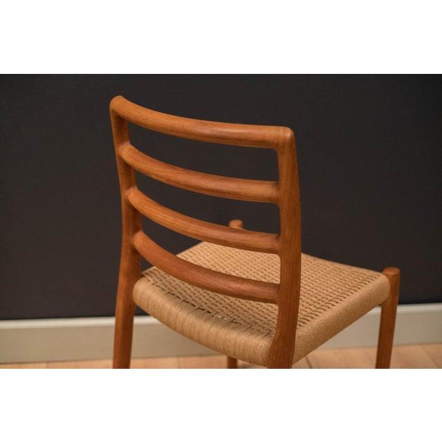 Niels Moller Vintage Mid Century Moller Model 85 Danish Teak Dining Chairs- Set of 8 For Sale - Image 4 of 12