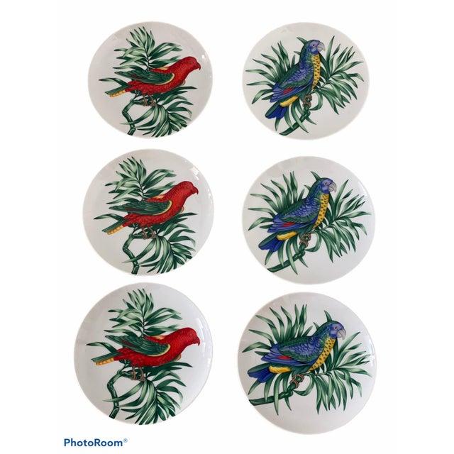 "Ceramic Vintage Fitz and Floyd Parrot ""Perroquet"" Dessert or Salad Plates. Set/6 For Sale - Image 7 of 7"