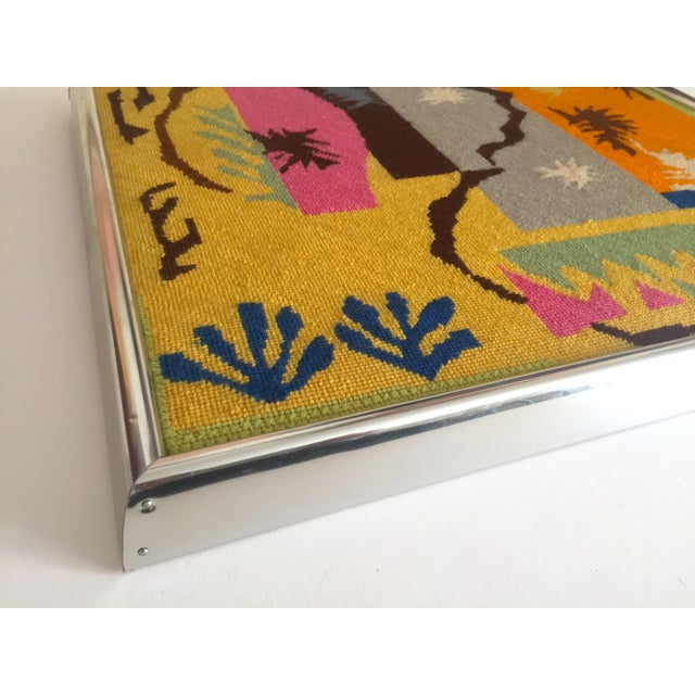 """Yellow Vintage Mid Century Modern Henri Matisse """"Cut Outs"""" Framed Hand Needlepoint Art For Sale - Image 8 of 10"""