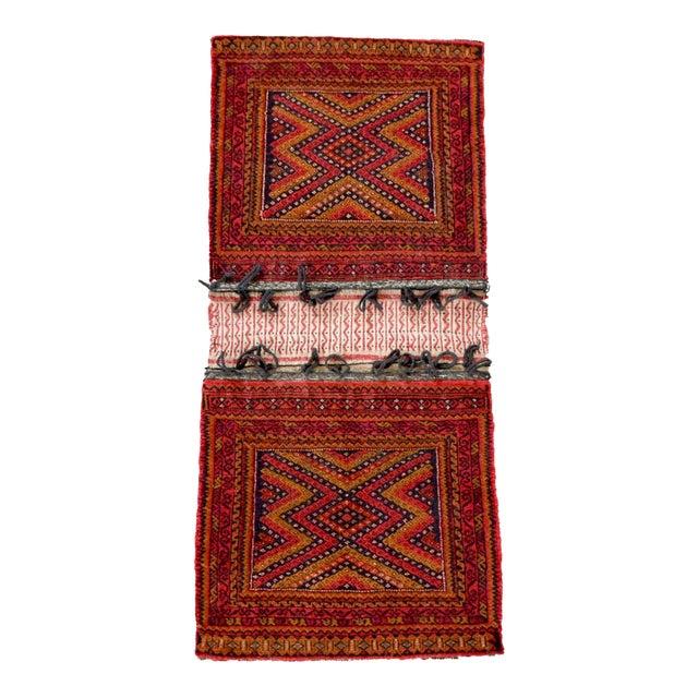 "Antique Balochistan Wool Tribal Saddlebag Rug - 1'8"" x 3'8"" For Sale - Image 12 of 12"