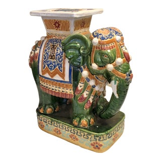 Painted Teracotta Elephant Garden Seat