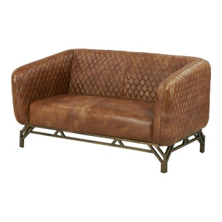 Crafters and Weavers Vincent Industrial Modern Love Seat For Sale