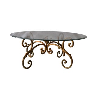 Vintage Italian Gilded Base Cocktail Table For Sale