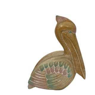 Southwestern Style Wooden Pelican Figurine For Sale
