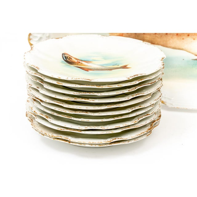 Country Late 18th Century Antique Limoges Fish Motif Serving Set - 13 Pieces For Sale - Image 3 of 11