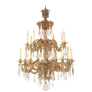 Fine Louis XV Crystal and Bronze 24-Light Chandelier For Sale