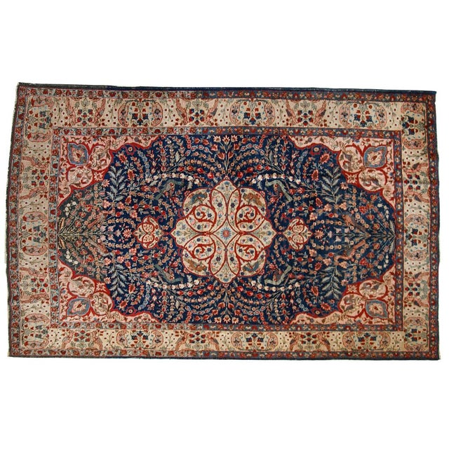1920s Antique Persian Tabriz Rug- 6′4″ × 10′2″ For Sale - Image 9 of 10