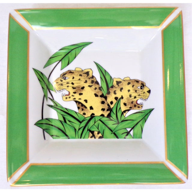 Ceramic Vintage Philippe Deshoulieres Limoges Leopard Porcelain Trinket Tray / Catchall For Sale - Image 7 of 10