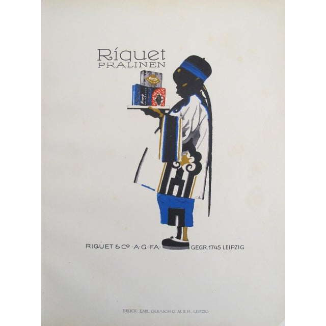 1926 German Poster, Riquet Pralinen, Boy with Tray - Image 2 of 3