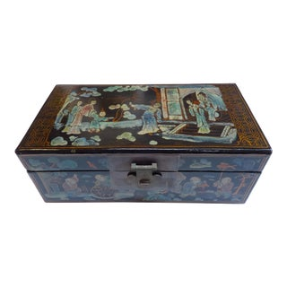 Antique Chinoiserie Painted Box For Sale