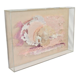 "Vintage ""Song of Sunset"" Mixed Media 3-D Art in Lucite Box Frame by Marcia Mazur For Sale"
