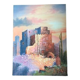 Southwest Signed Pueblo Painting For Sale