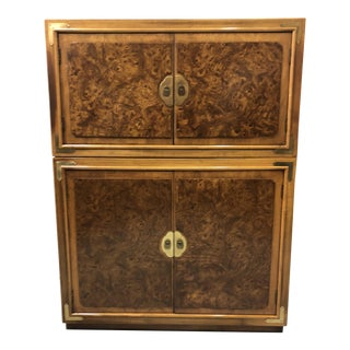 Thomasville Burlwood Tall Asian Modern Cabinet For Sale
