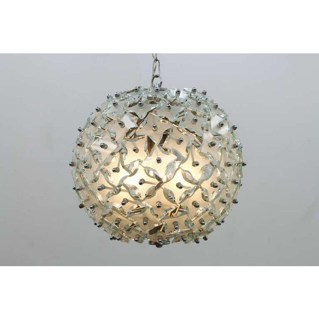 """1960s Glass and Metal """"Snowball"""" Chandelier, Italy, 1960s For Sale - Image 5 of 8"""