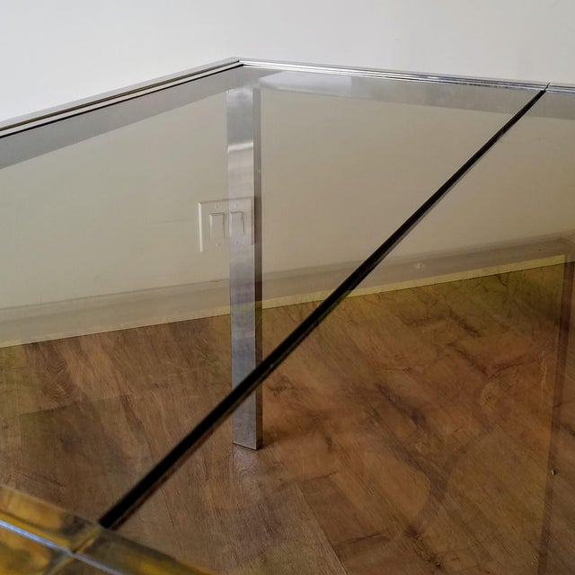 1970s Milo Baughman Square Chrome and Smoked Glass Dining Table For Sale - Image 9 of 12