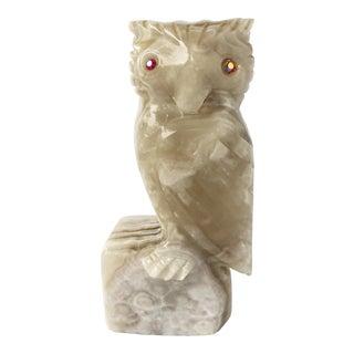 1960s Vintage Italian Alabaster Hand Carved Owl For Sale