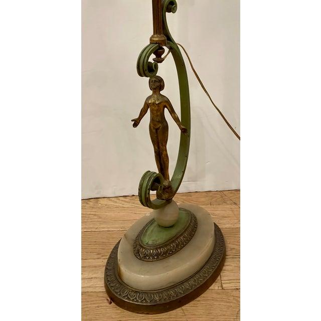 Art Deco Antique French Art Deco Bronze Nude Figural Floor Lamp For Sale - Image 3 of 7