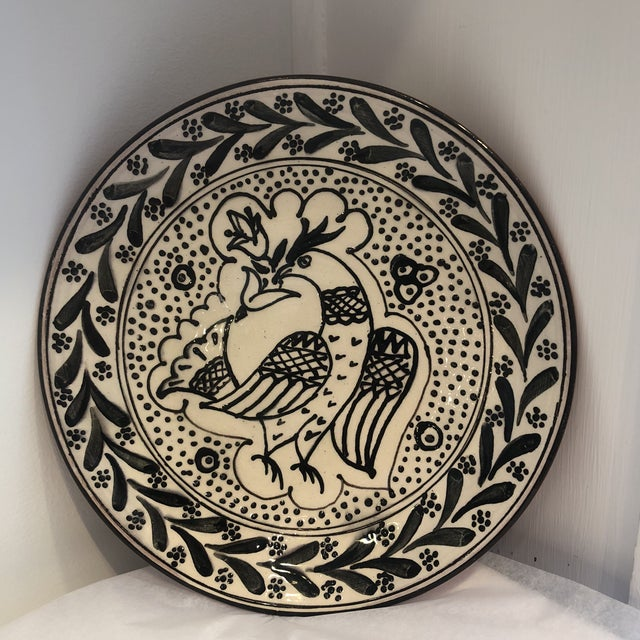 White Hand-Painted, Portuguese Plate For Sale - Image 8 of 8