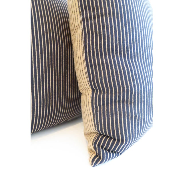 Custom Navy & Tan Stripe Pillows - A Pair - Image 5 of 5