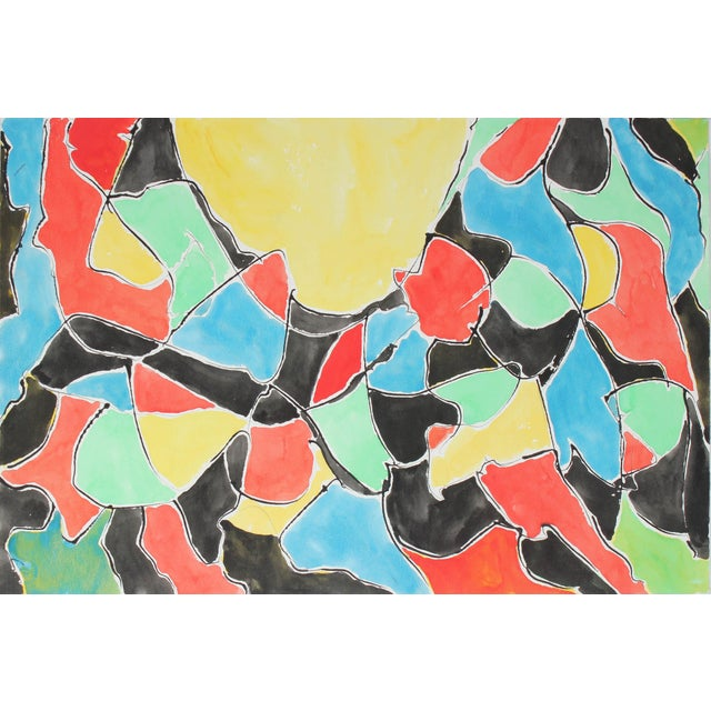 Abstract Abstract in Primary Colors, Watercolor Painting, 1992 For Sale - Image 3 of 3