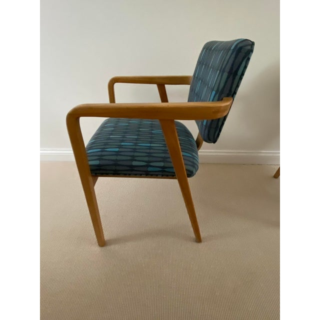 1950s Mid-Century Modern Walnut Upholstered Arm Chairs - a Pair For Sale - Image 11 of 13