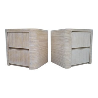 1970s Boho Chic Pencil Reed Rattan Nightstands - a Pair For Sale