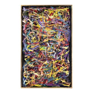 Vintage Abstract Expressionist Painting on Canvas