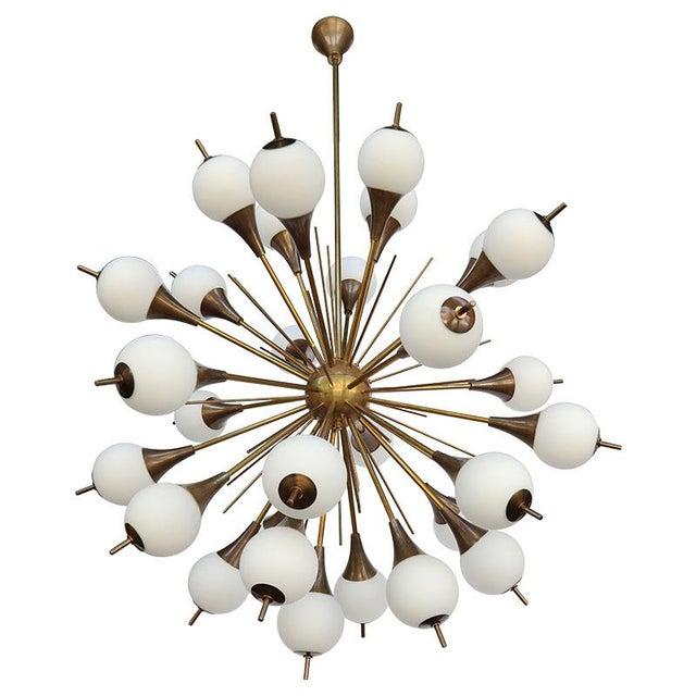 1960s Italian Brass Sputnik Chandelier With White Balls For Sale - Image 12 of 12