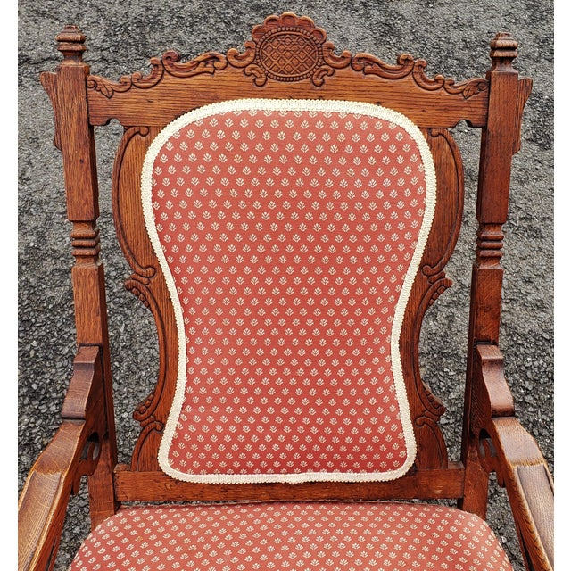 Late 19th Century 19th C Victorian American Upholstered Carved Oak Rocking Chair For Sale - Image 5 of 10